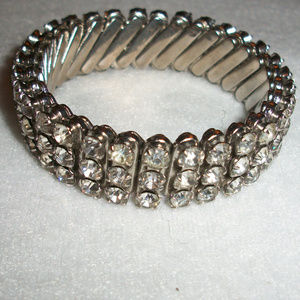 Vintage Rhinestone Japan Flex Bracelet